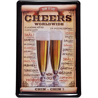 Blechschild Cheers / How to say ...